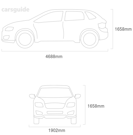 Dimensions for the Volvo XC60 2019 Dimensions  include 1658mm height, 1902mm width, 4688mm length.