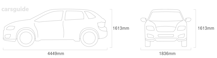 Dimensions for the Renault KADJAR 2019 Dimensions  include 1613mm height, 1836mm width, 4449mm length.