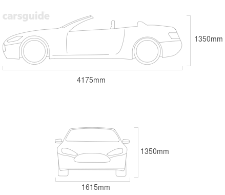 Dimensions for the Subaru Leone 1984 Dimensions  include 1350mm height, 1615mm width, 4175mm length.