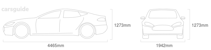 Dimensions for the Aston Martin V8 2019 include 1273mm height, 1942mm width, 4465mm length.