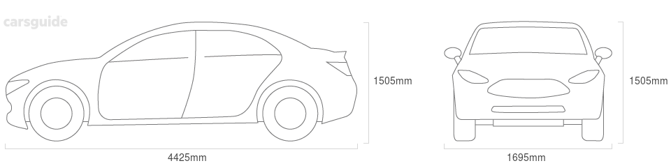 Dimensions for the Nissan Almera 2013 Dimensions  include 1505mm height, 1695mm width, 4425mm length.