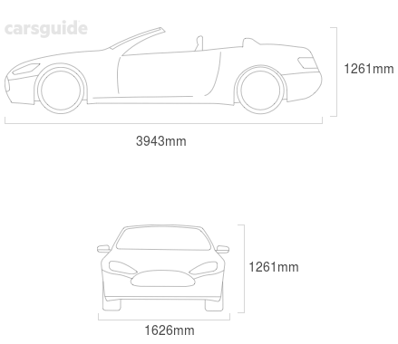 Dimensions for the MG TF 2002 include 1261mm height, 1626mm width, 3943mm length.
