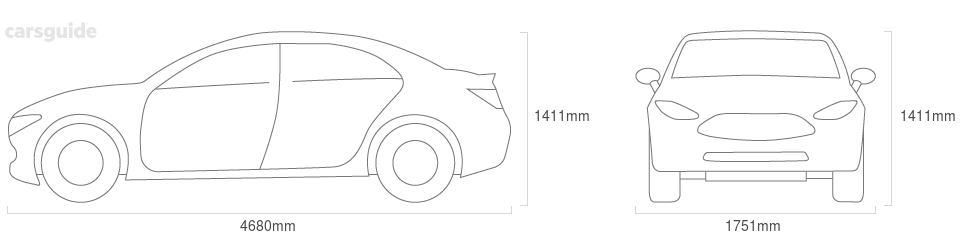 Dimensions for the Hyundai Sonata 1989 Dimensions  include 1411mm height, 1751mm width, 4680mm length.