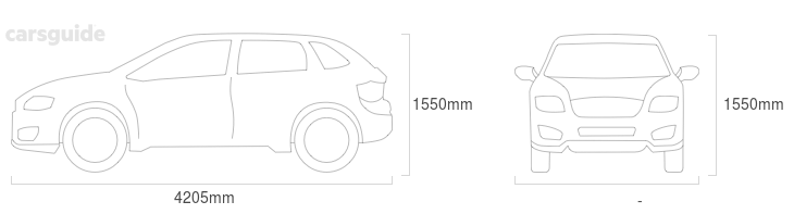 Dimensions for the Hyundai Kona 2020 Dimensions  include 1550mm height, — width, 4205mm length.