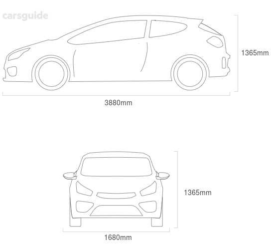 Dimensions for the Mitsubishi Mirage 2000 include 1365mm height, 1680mm width, 3880mm length.