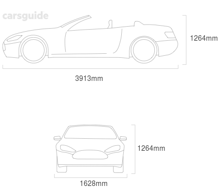 Dimensions for the MG F 1998 Dimensions  include 1264mm height, 1628mm width, 3913mm length.