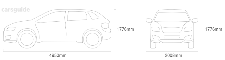 Dimensions for the Volvo XC90 2016 Dimensions  include 1776mm height, 2008mm width, 4950mm length.