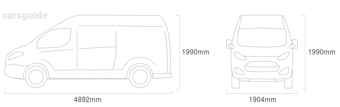 Dimensions for the Volkswagen Transporter 2019 include 1990mm height, 1904mm width, 4892mm length.