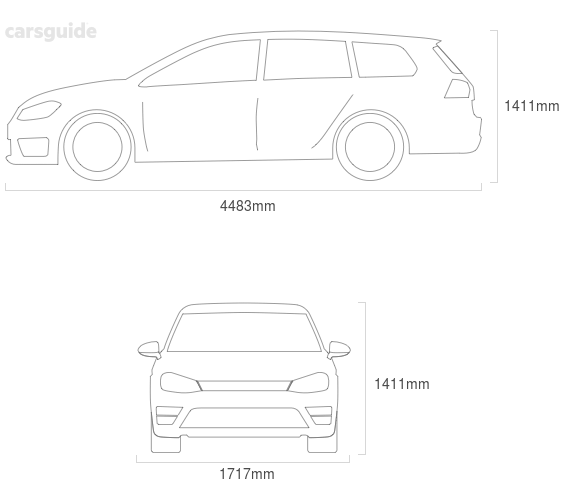 Dimensions for the Volvo V40 1997 Dimensions  include 1411mm height, 1717mm width, 4483mm length.