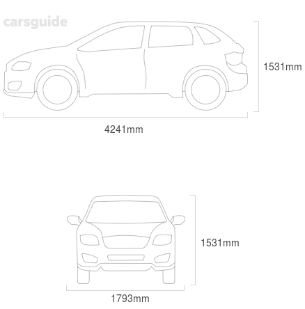 Dimensions for the Skoda Kamiq 2021 Dimensions  include 1531mm height, 1793mm width, 4241mm length.