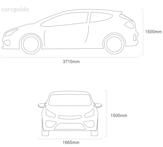 Dimensions for the Mitsubishi Mirage 2014 Dimensions  include 1500mm height, 1665mm width, 3710mm length.