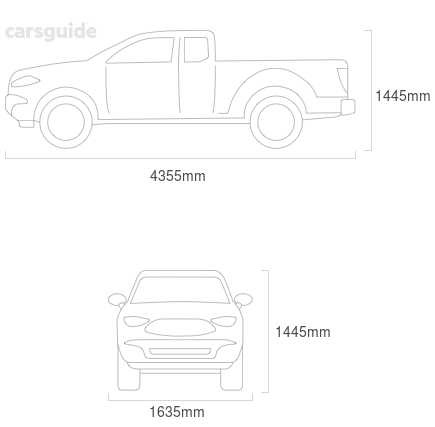Dimensions for the Subaru Brumby 1991 Dimensions  include 1445mm height, 1635mm width, 4355mm length.