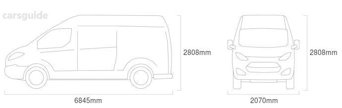 Dimensions for the Renault Master 2016 Dimensions  include 2808mm height, 2070mm width, 6845mm length.