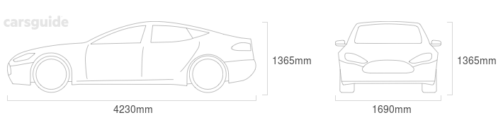 Dimensions for the Mitsubishi Lancer 1999 include 1365mm height, 1690mm width, 4230mm length.