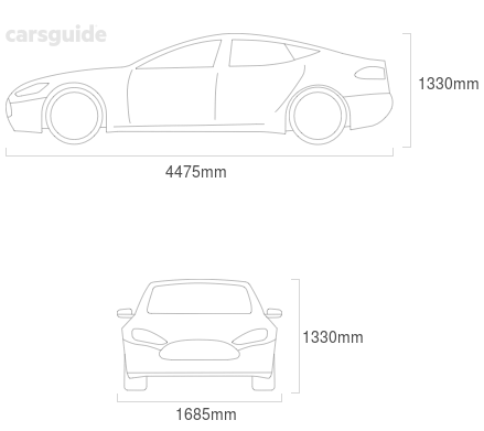 Dimensions for the Mazda 121 1978 Dimensions  include 1330mm height, 1685mm width, 4475mm length.