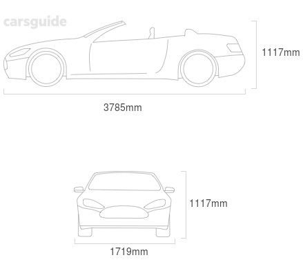 Dimensions for the Lotus Exige 2008 Dimensions  include 1117mm height, 1719mm width, 3785mm length.