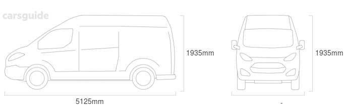 Dimensions for the Hyundai iLoad 2020 Dimensions  include 1935mm height, — width, 5125mm length.