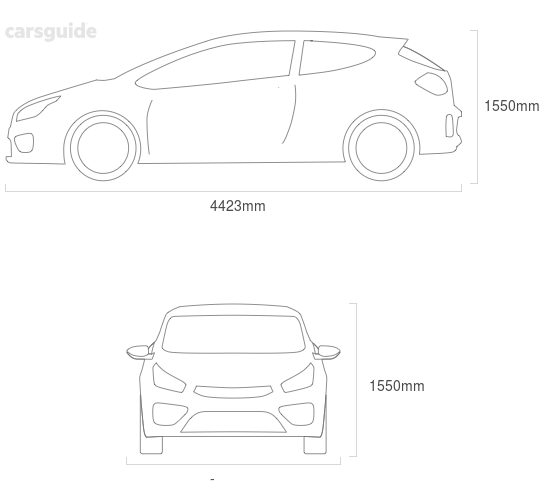 Dimensions for the Mercedes-Benz B-Class 2020 Dimensions  include 1550mm height, — width, 4423mm length.
