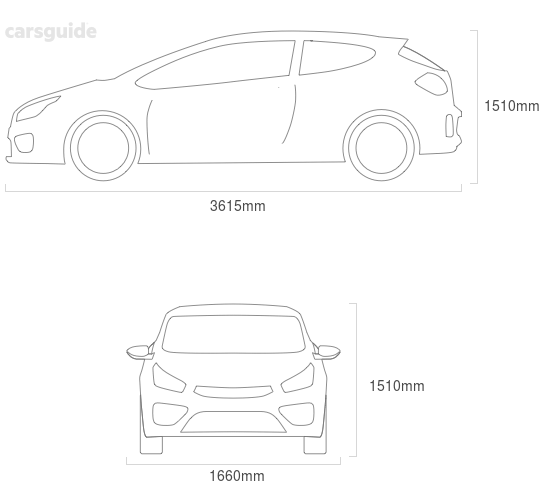 Dimensions for the Toyota Echo 2000 Dimensions  include 1510mm height, 1660mm width, 3615mm length.