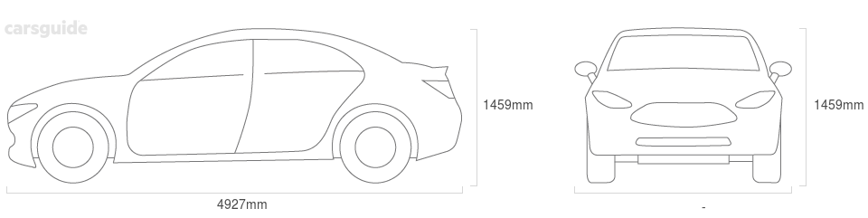 Dimensions for the Audi A6 2010 Dimensions  include 1459mm height, — width, 4927mm length.