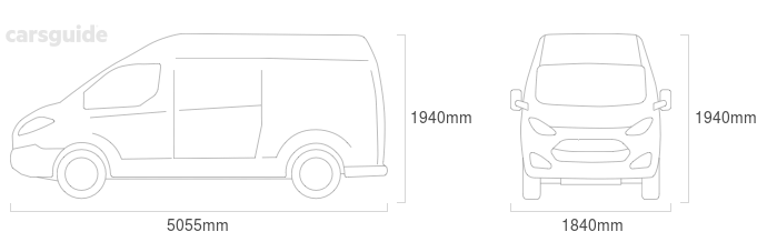 Dimensions for the Volkswagen Transporter 1994 Dimensions  include 1940mm height, 1840mm width, 5055mm length.