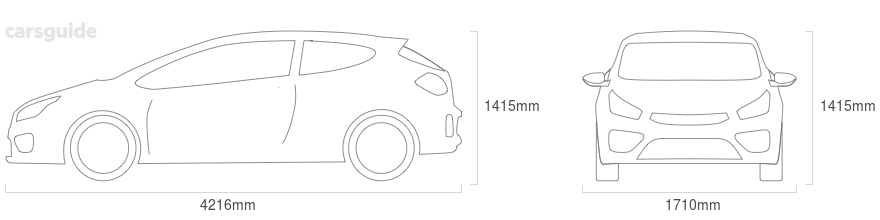 Dimensions for the Ford Laser 1997 Dimensions  include 1415mm height, 1710mm width, 4216mm length.