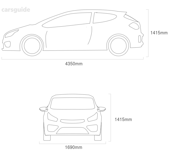 Dimensions for the Subaru Impreza 1994 Dimensions  include 1415mm height, 1690mm width, 4350mm length.