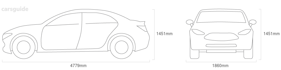 Dimensions for the Citroen C5 2008 Dimensions  include 1451mm height, 1860mm width, 4779mm length.