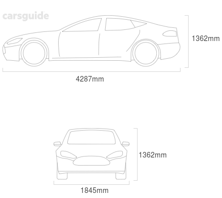 Dimensions for the Peugeot Rcz 2012 Dimensions  include 1362mm height, 1845mm width, 4287mm length.