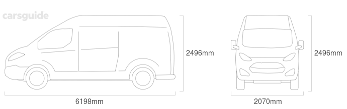 Dimensions for the Renault Master 2014 Dimensions  include 2496mm height, 2070mm width, 6198mm length.